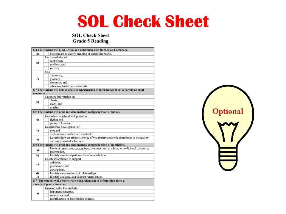 SOL Check Sheet Optional