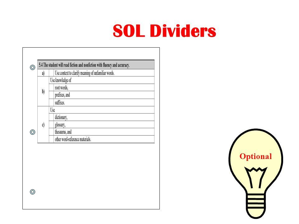 SOL Dividers Optional