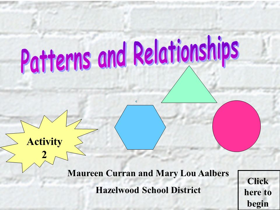 Maureen Curran and Mary Lou Aalbers Hazelwood School District Click here to begin Activity 2