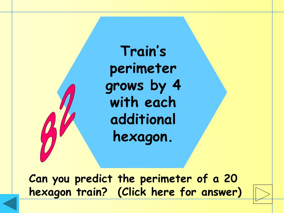 Trains perimeter grows by 4 with each additional hexagon.