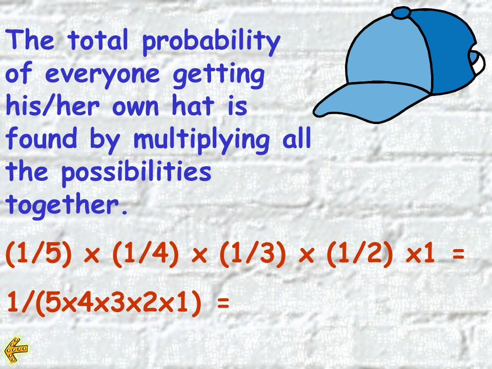 The probability that the first person will get the right hat is 1/5.