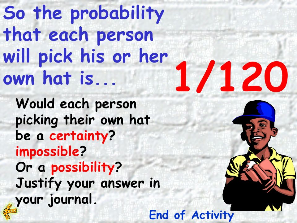 The total probability of everyone getting his/her own hat is found by multiplying all the possibilities together.