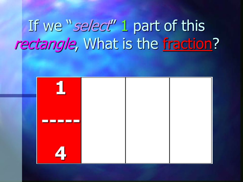 If we select 1 part of this rectangle, What is the fraction?