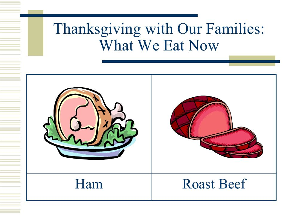 Thanksgiving with Our Families: What We Eat Now HamRoast Beef