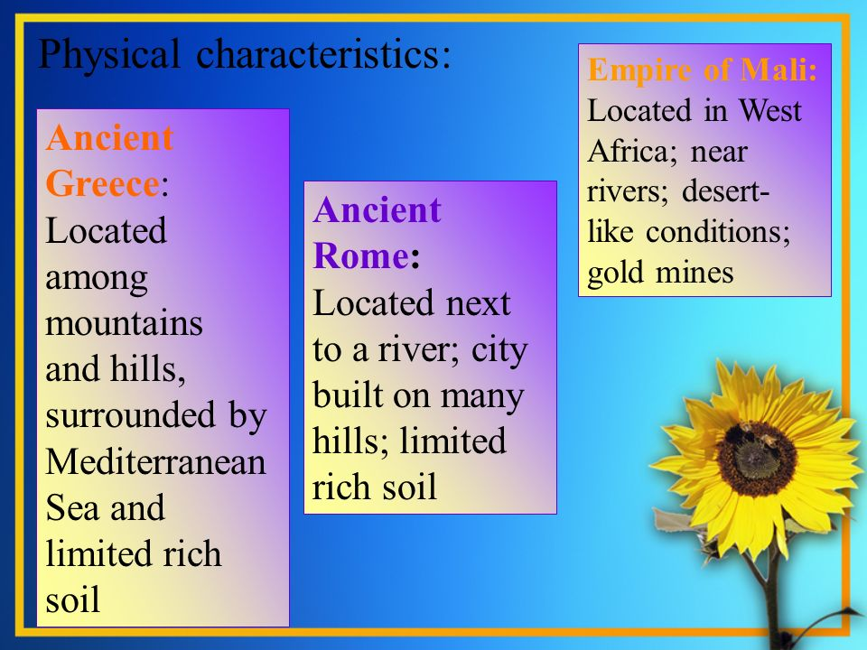Physical characteristics:. Ancient Greece: Located among mountains and hills, surrounded by Mediterranean Sea and limited rich soil Ancient Rome: Loca