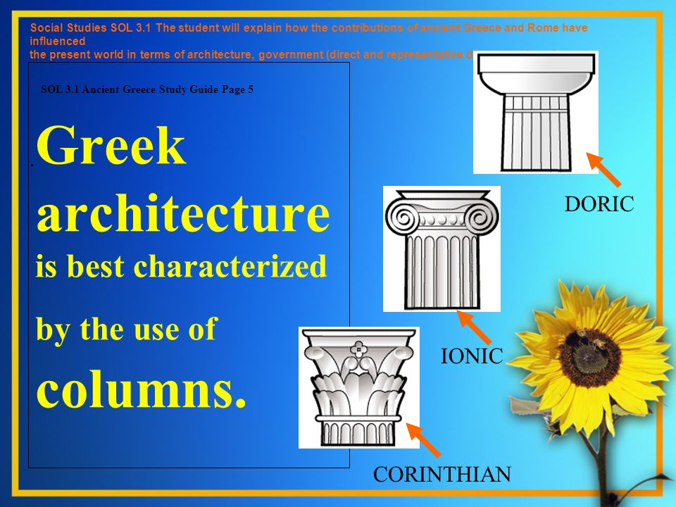 Greek architecture is best characterized by the use of columns. Social Studies SOL 3.1 The student will explain how the contributions of ancient Greec