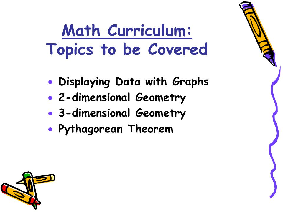 Displaying Data with Graphs 2-dimensional Geometry 3-dimensional Geometry Pythagorean Theorem Math Curriculum: Topics to be Covered