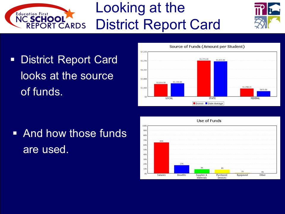 Looking at the District Report Card District Report Card looks at the source of funds.