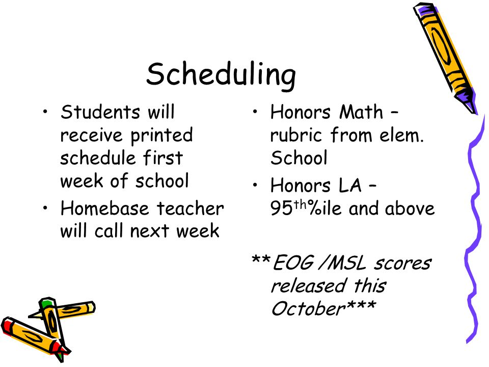 Scheduling Students will receive printed schedule first week of school Homebase teacher will call next week Honors Math – rubric from elem.