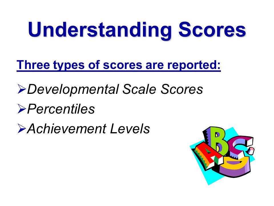 Understanding Scores Three types of scores are reported: Developmental Scale Scores Percentiles Achievement Levels