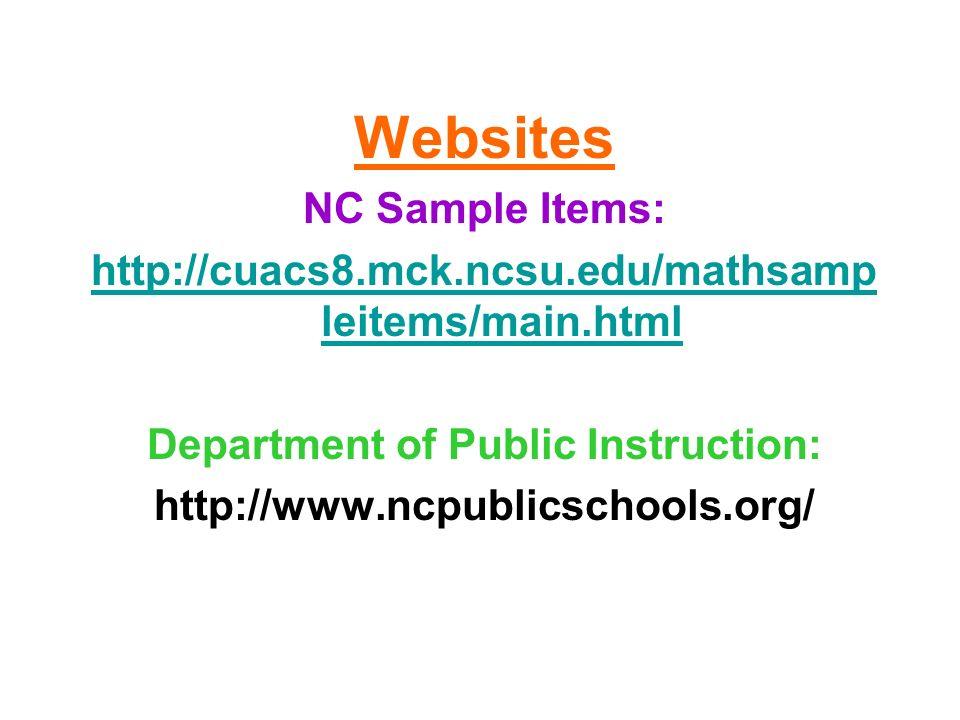 Websites NC Sample Items: http://cuacs8.mck.ncsu.edu/mathsamp leitems/main.html Department of Public Instruction: http://www.ncpublicschools.org/