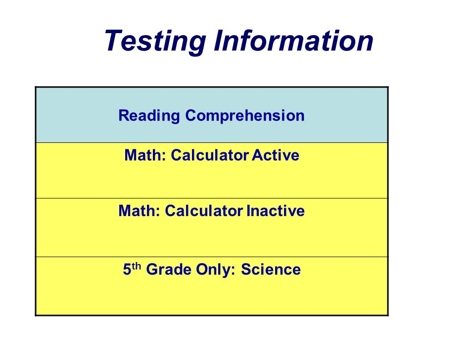 Testing Information Reading Comprehension Math: Calculator Active Math: Calculator Inactive 5 th Grade Only: Science