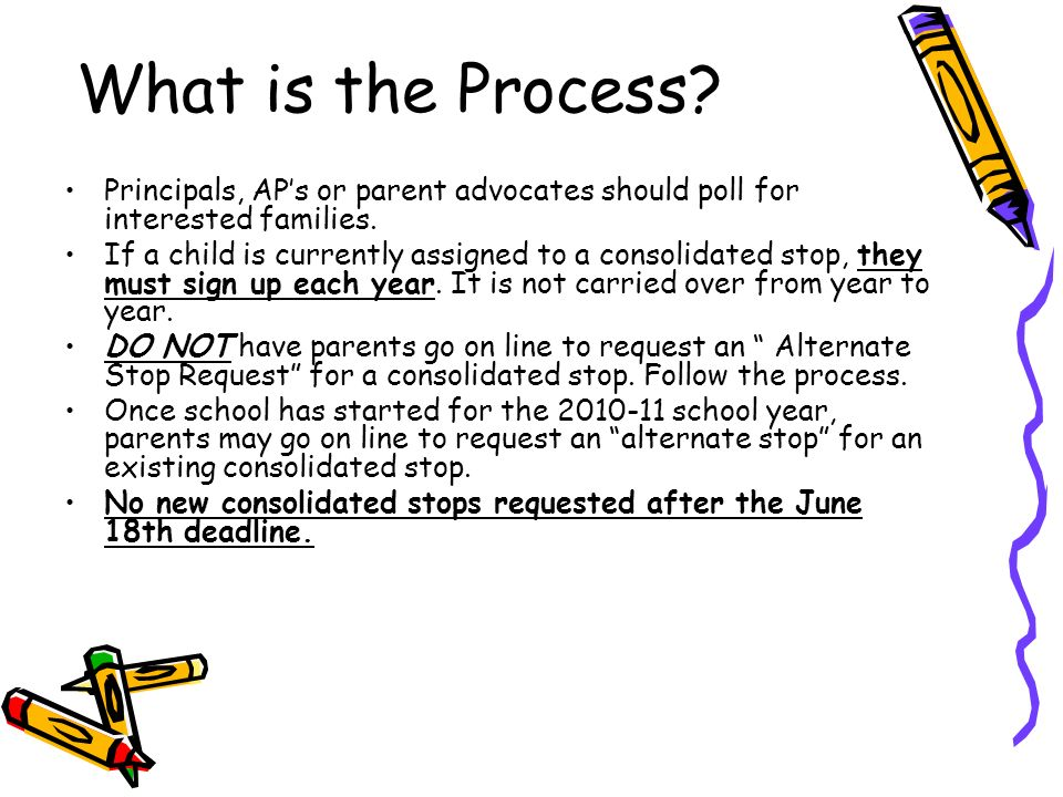 What is the Process. Principals, APs or parent advocates should poll for interested families.