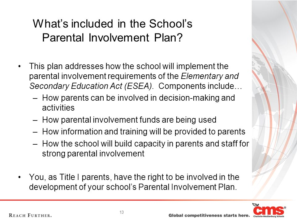 13 Whats included in the Schools Parental Involvement Plan? This plan addresses how the school will implement the parental involvement requirements of