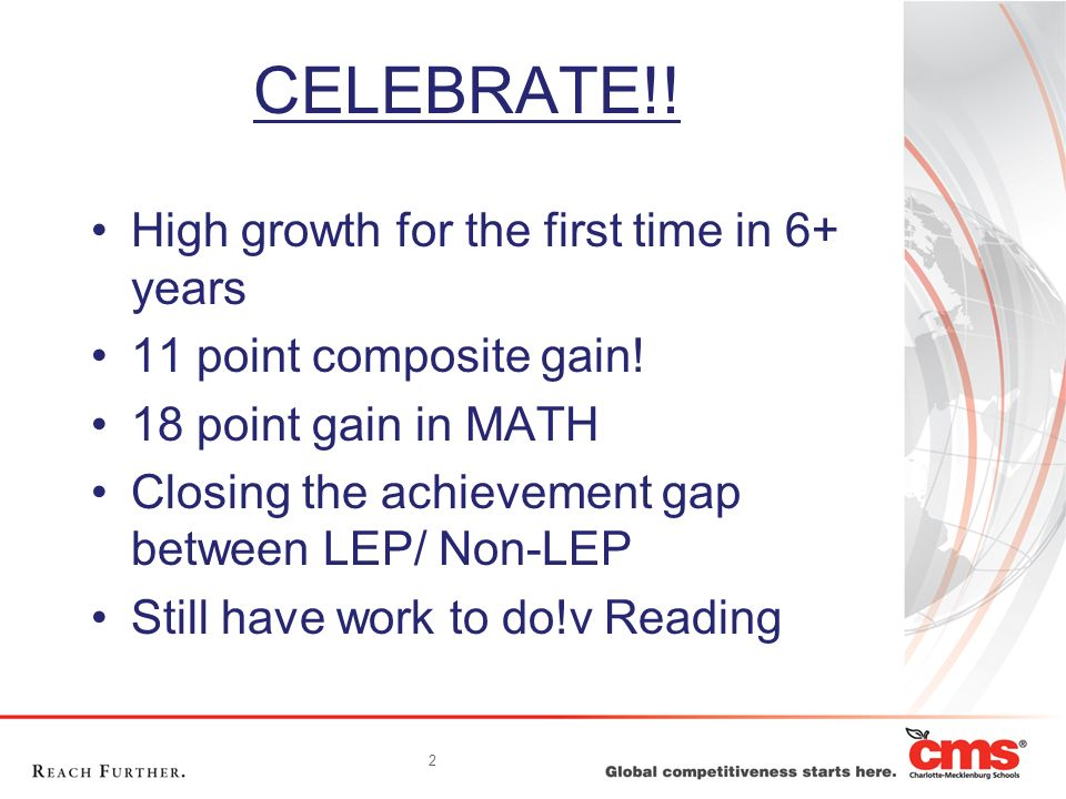 2 CELEBRATE!! High growth for the first time in 6+ years 11 point composite gain! 18 point gain in MATH Closing the achievement gap between LEP/ Non-L