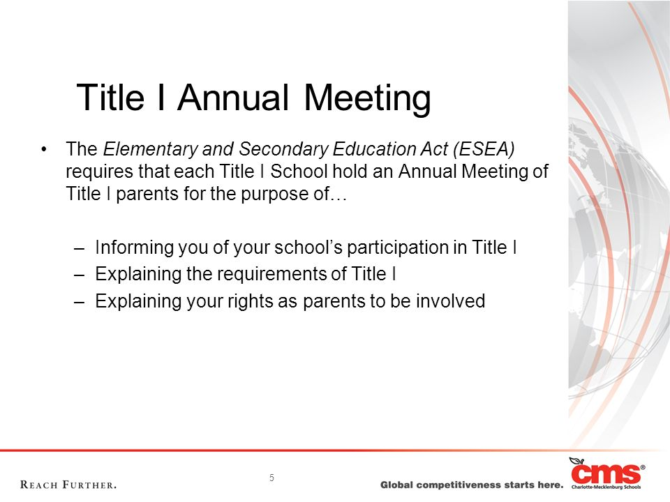 6 What you will learn… What does it mean to be a Title I school.