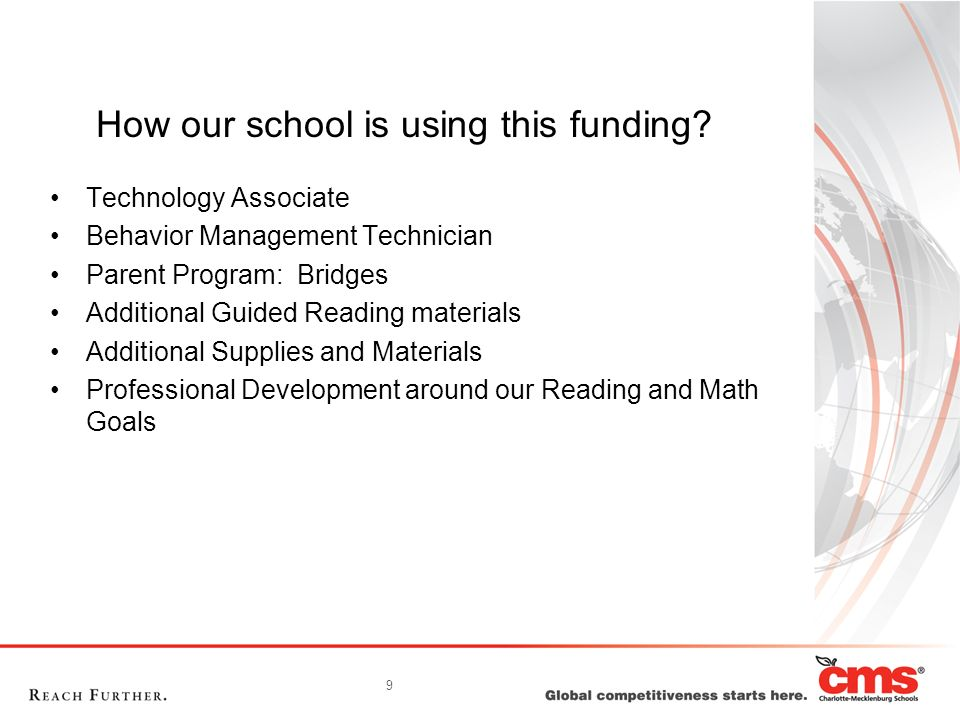 9 How our school is using this funding? Technology Associate Behavior Management Technician Parent Program: Bridges Additional Guided Reading material