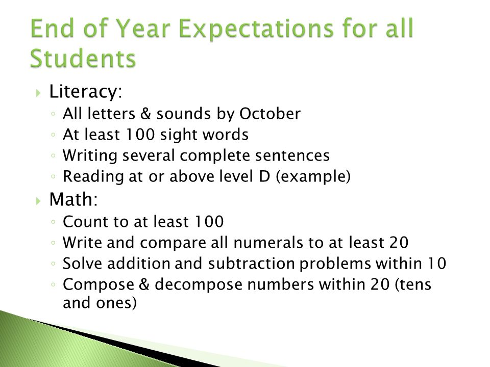Literacy: All letters & sounds by October At least 100 sight words Writing several complete sentences Reading at or above level D (example) Math: Coun