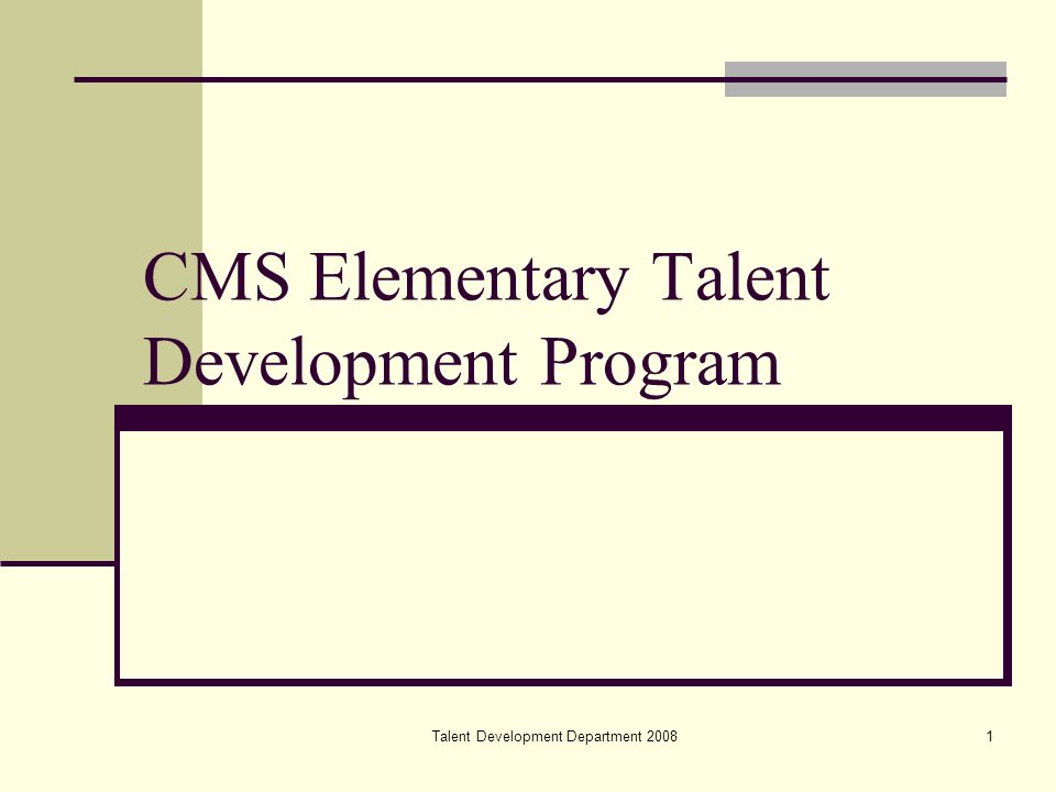 Talent Development Department2 Mission To provide gifted students the opportunity to maximize their potential, demonstrate their motivation, and realize their contributions to self and the global community