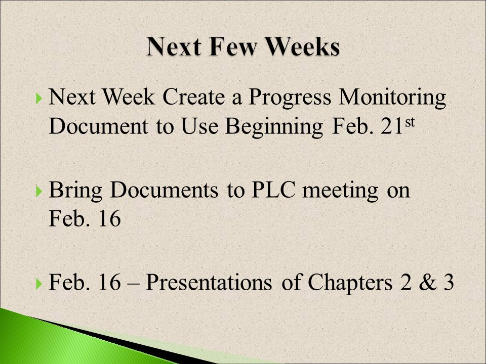 Next Week Create a Progress Monitoring Document to Use Beginning Feb.