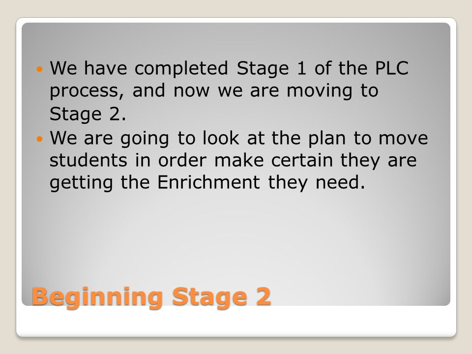 Beginning Stage 2 We have completed Stage 1 of the PLC process, and now we are moving to Stage 2.