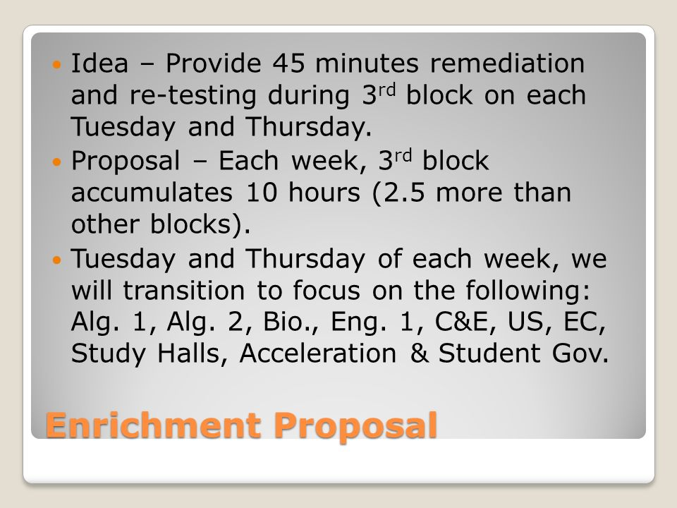 Enrichment Proposal Idea – Provide 45 minutes remediation and re-testing during 3 rd block on each Tuesday and Thursday.