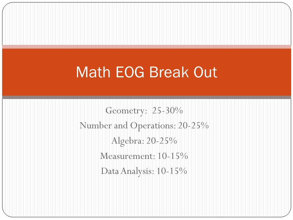 Geometry: 25-30% Number and Operations: 20-25% Algebra: 20-25% Measurement: 10-15% Data Analysis: 10-15% Math EOG Break Out