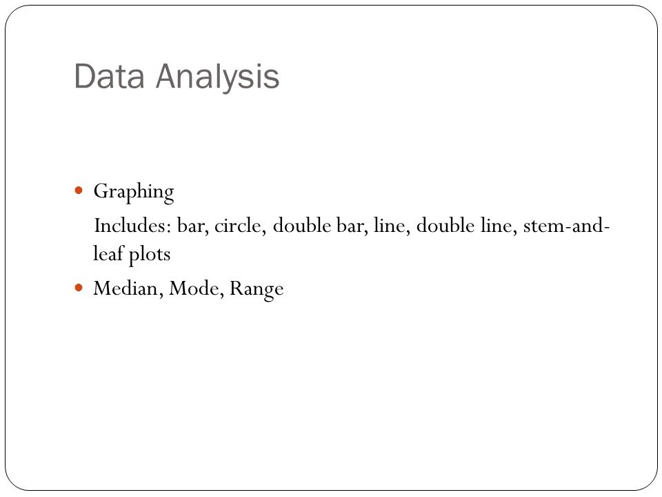 Data Analysis Graphing Includes: bar, circle, double bar, line, double line, stem-and- leaf plots Median, Mode, Range