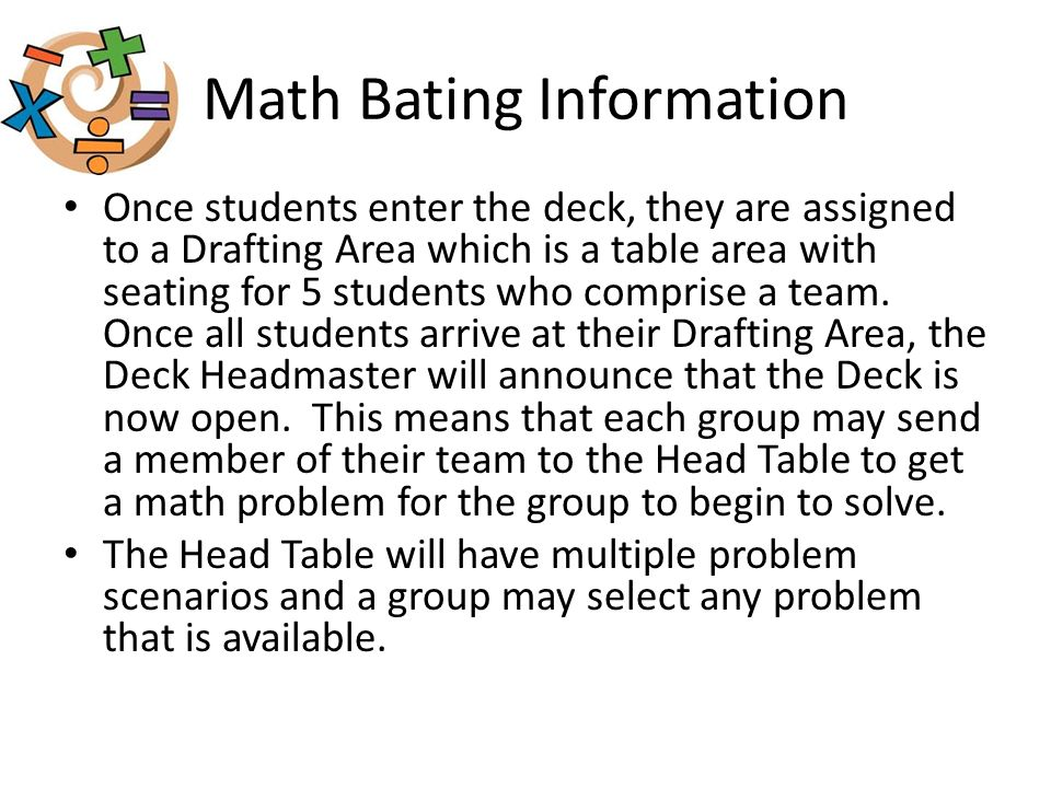 Math Bating Information Once students enter the deck, they are assigned to a Drafting Area which is a table area with seating for 5 students who comprise a team.