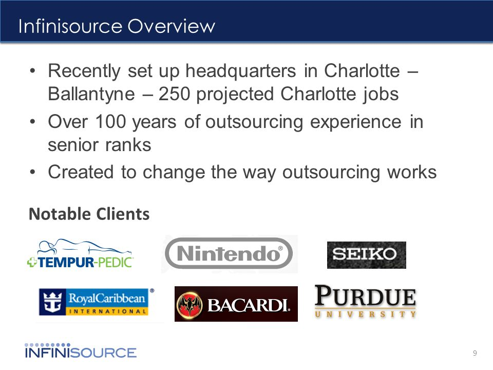 Infinisource Overview Recently set up headquarters in Charlotte – Ballantyne – 250 projected Charlotte jobs Over 100 years of outsourcing experience in senior ranks Created to change the way outsourcing works 9 Notable Clients