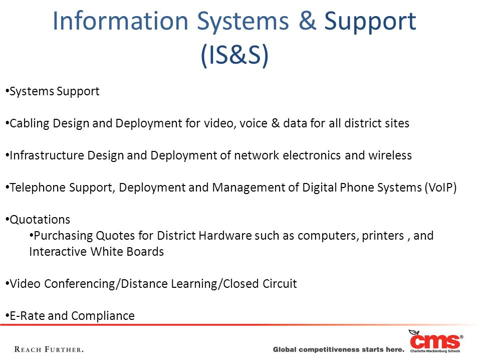 Systems Support Cabling Design and Deployment for video, voice & data for all district sites Infrastructure Design and Deployment of network electroni