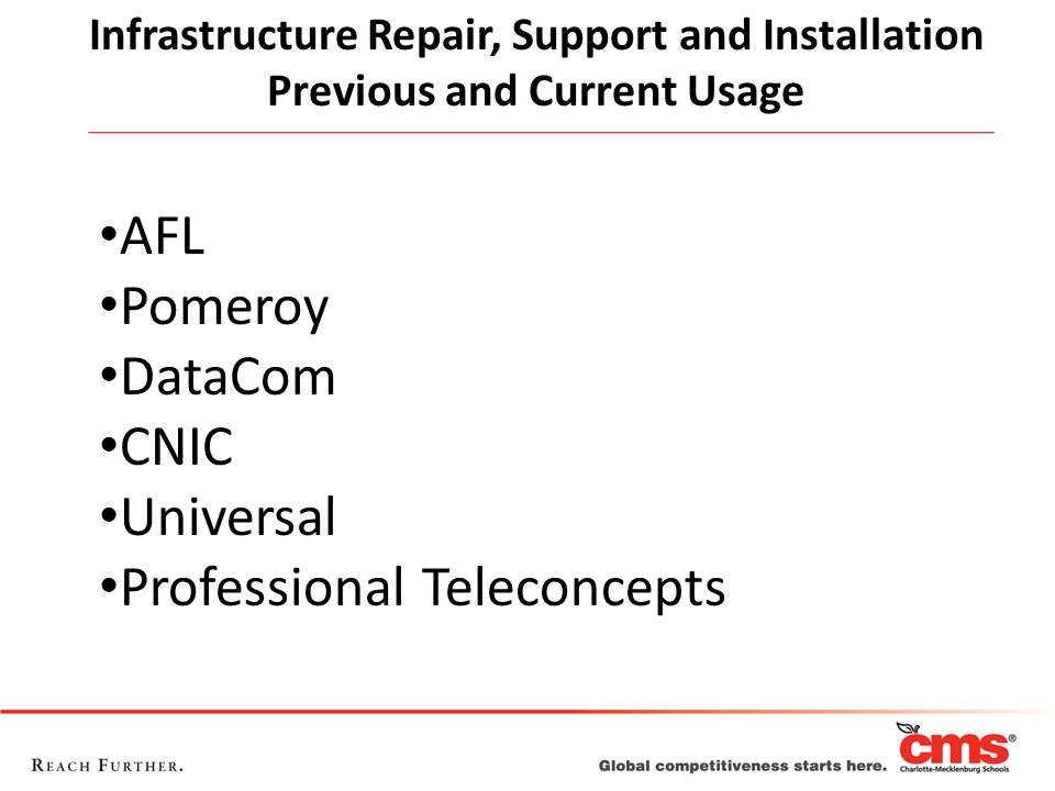 Infrastructure Repair, Support and Installation Previous and Current Usage AFL Pomeroy DataCom CNIC Universal Professional Teleconcepts