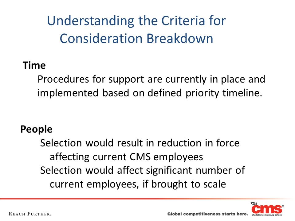 People Selection would result in reduction in force affecting current CMS employees Selection would affect significant number of current employees, if
