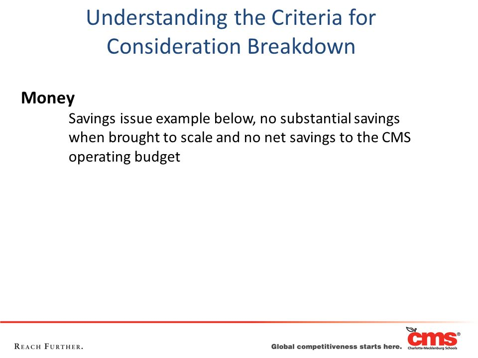Money Savings issue example below, no substantial savings when brought to scale and no net savings to the CMS operating budget Understanding the Crite