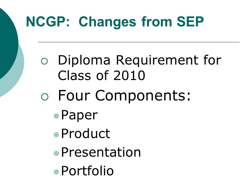 Diploma Requirement for Class of 2010 Four Components: Paper Product Presentation Portfolio NCGP: Changes from SEP