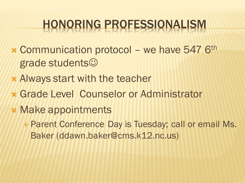 Communication protocol – we have 547 6 th grade students Always start with the teacher Grade Level Counselor or Administrator Make appointments Parent
