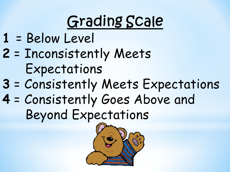 Grading Scale 1 = Below Level 2 = Inconsistently Meets Expectations 3 = Consistently Meets Expectations 4 = Consistently Goes Above and Beyond Expecta