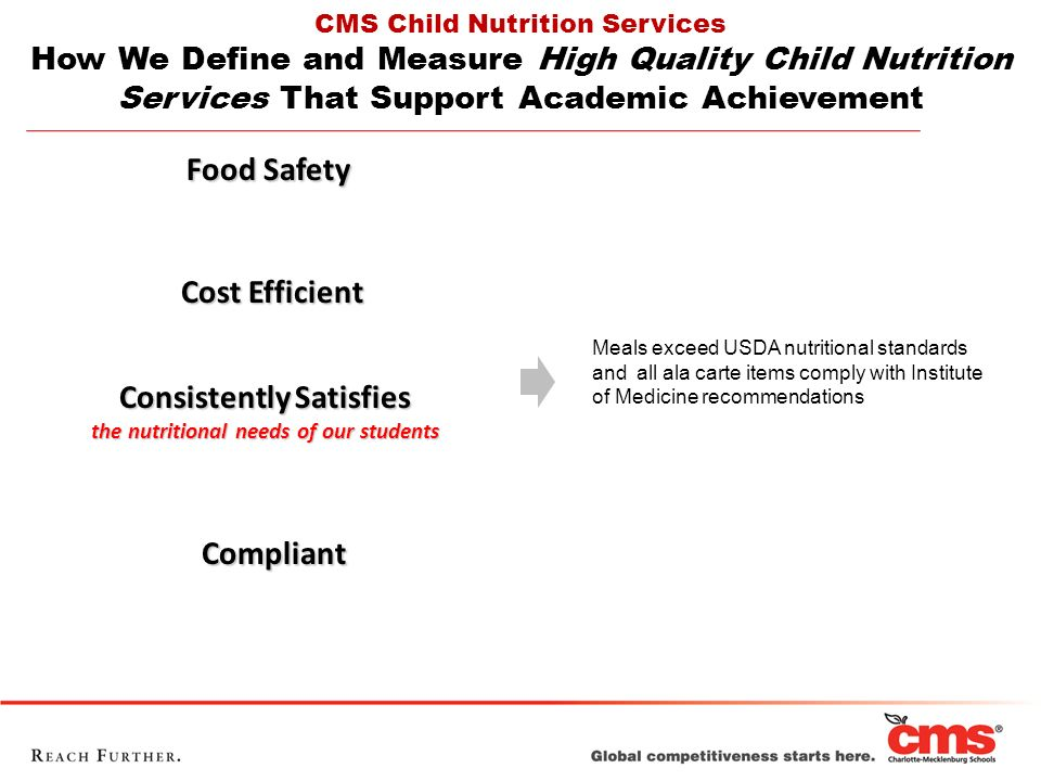 Food Safety Cost Efficient Cost Efficient Consistently Satisfies the nutritional needs of our students Compliant Compliant CMS Child Nutrition Services How We Define and Measure High Quality Child Nutrition Services That Support Academic Achievement Meals exceed USDA nutritional standards and all ala carte items comply with Institute of Medicine recommendations