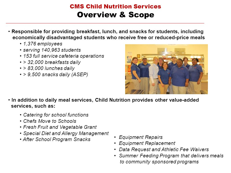 CMS Child Nutrition Services Overview & Scope Responsible for providing breakfast, lunch, and snacks for students, including economically disadvantage