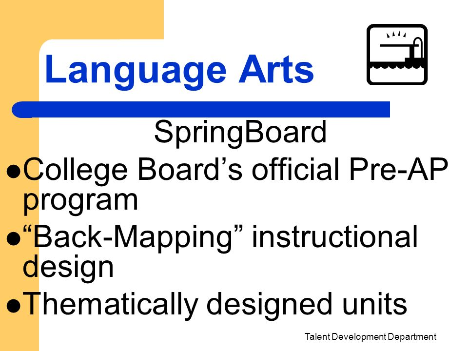 Talent Development Department Language Arts SpringBoard College Boards official Pre-AP program Back-Mapping instructional design Thematically designed