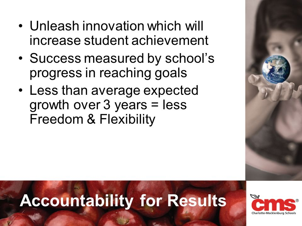 Accountability for Results Unleash innovation which will increase student achievement Success measured by schools progress in reaching goals Less than average expected growth over 3 years = less Freedom & Flexibility