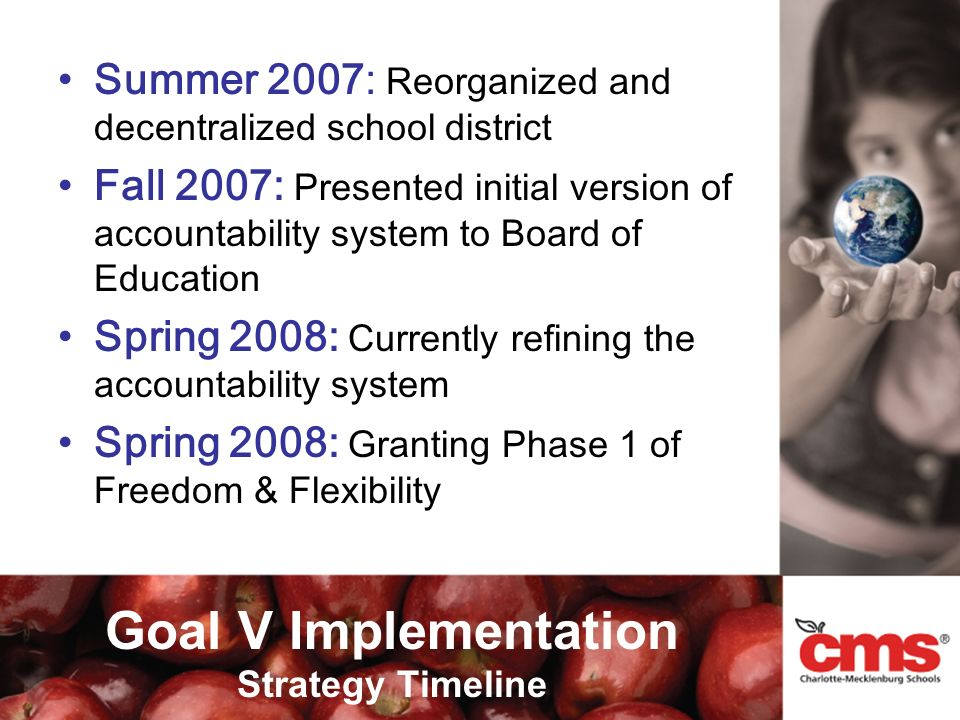 Summer 2007: Reorganized and decentralized school district Fall 2007: Presented initial version of accountability system to Board of Education Spring 2008: Currently refining the accountability system Spring 2008: Granting Phase 1 of Freedom & Flexibility Goal V Implementation Strategy Timeline