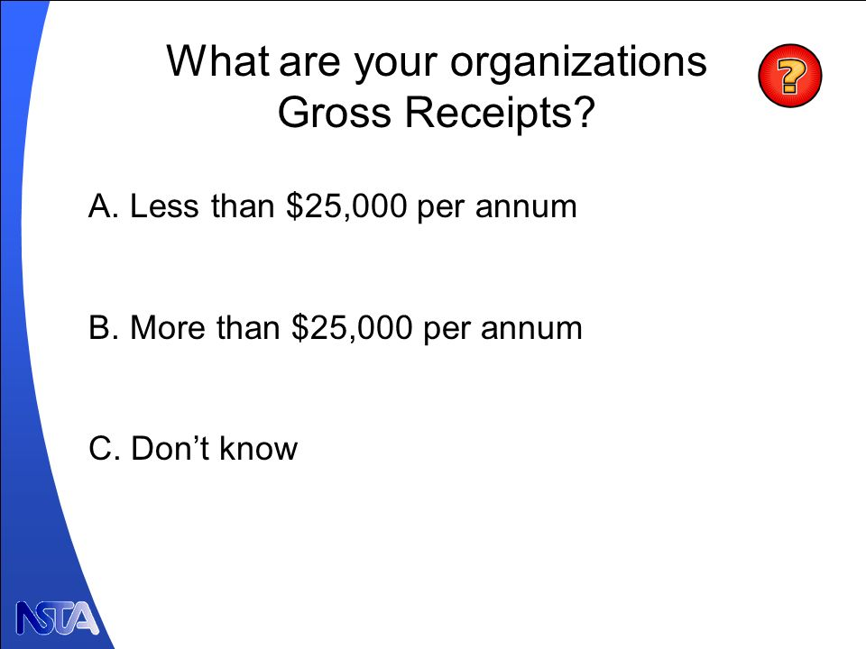 What are your organizations Gross Receipts.Poll #2 A.