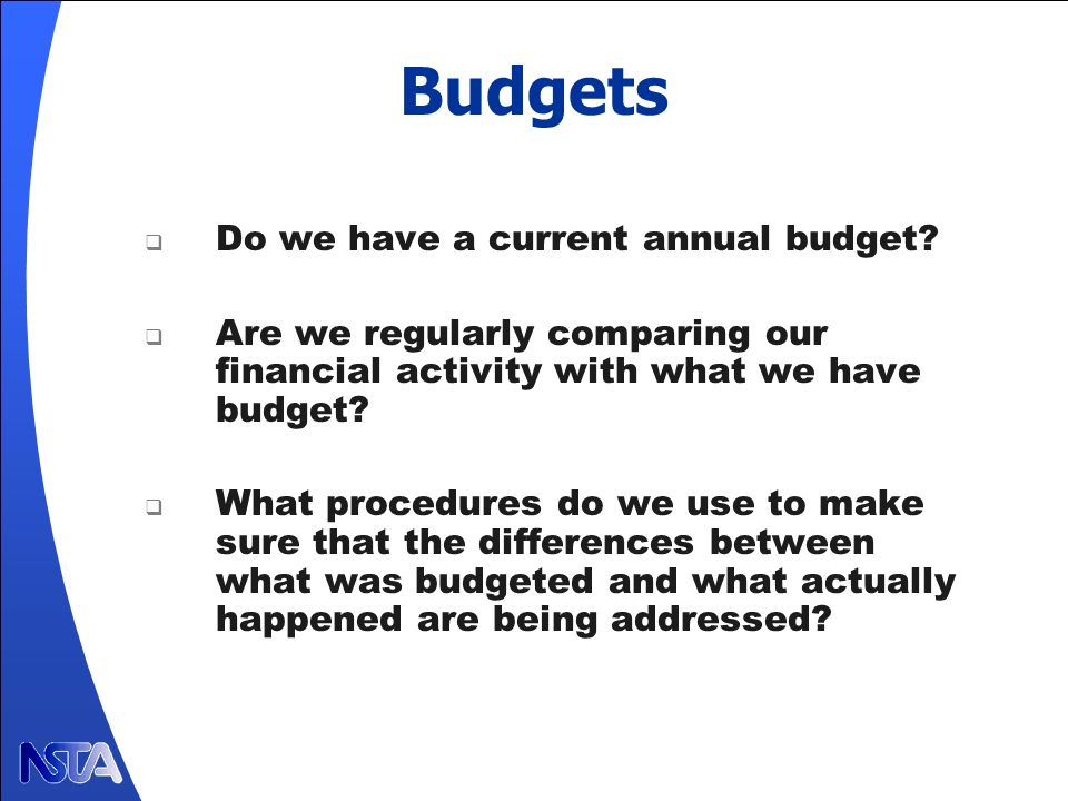 Budgets Do we have a current annual budget.