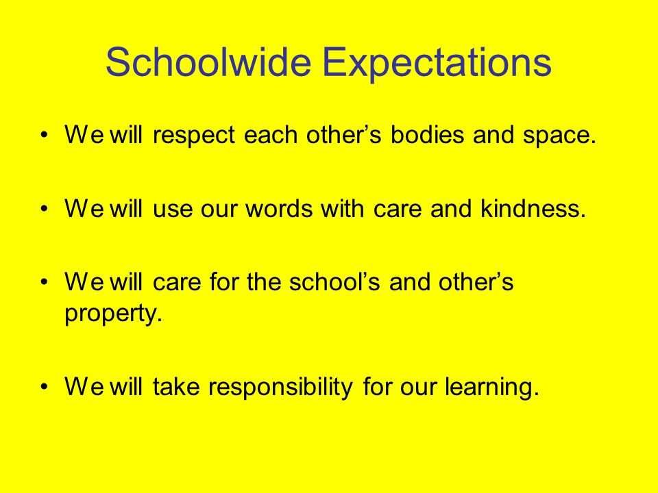 Schoolwide Expectations We will respect each others bodies and space.