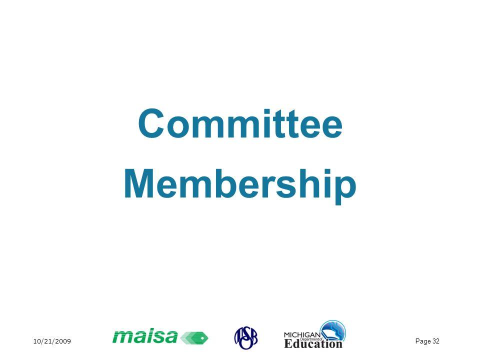 10/21/2009 Page 32 Committee Membership