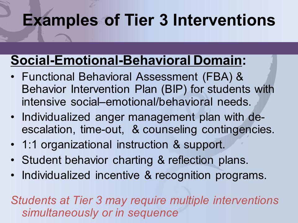 Examples of Tier 3 Interventions Social-Emotional-Behavioral Domain: Functional Behavioral Assessment (FBA) & Behavior Intervention Plan (BIP) for stu