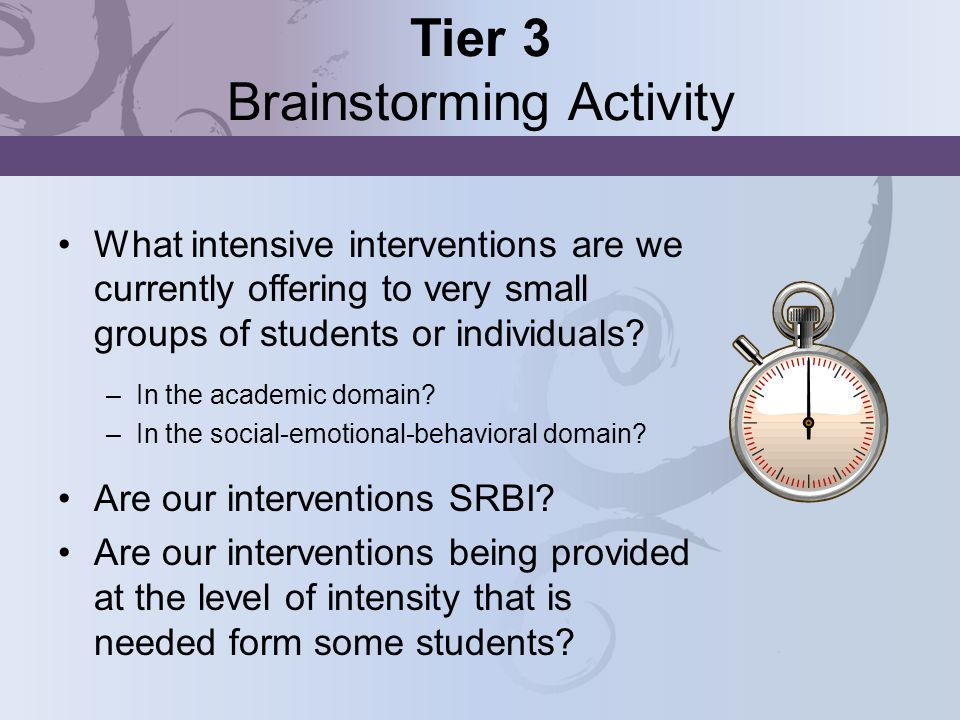 Tier 3 Brainstorming Activity What intensive interventions are we currently offering to very small groups of students or individuals? –In the academic