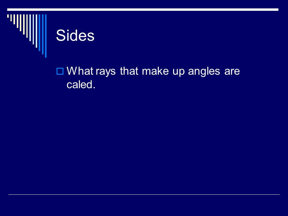 Sides What rays that make up angles are caled.