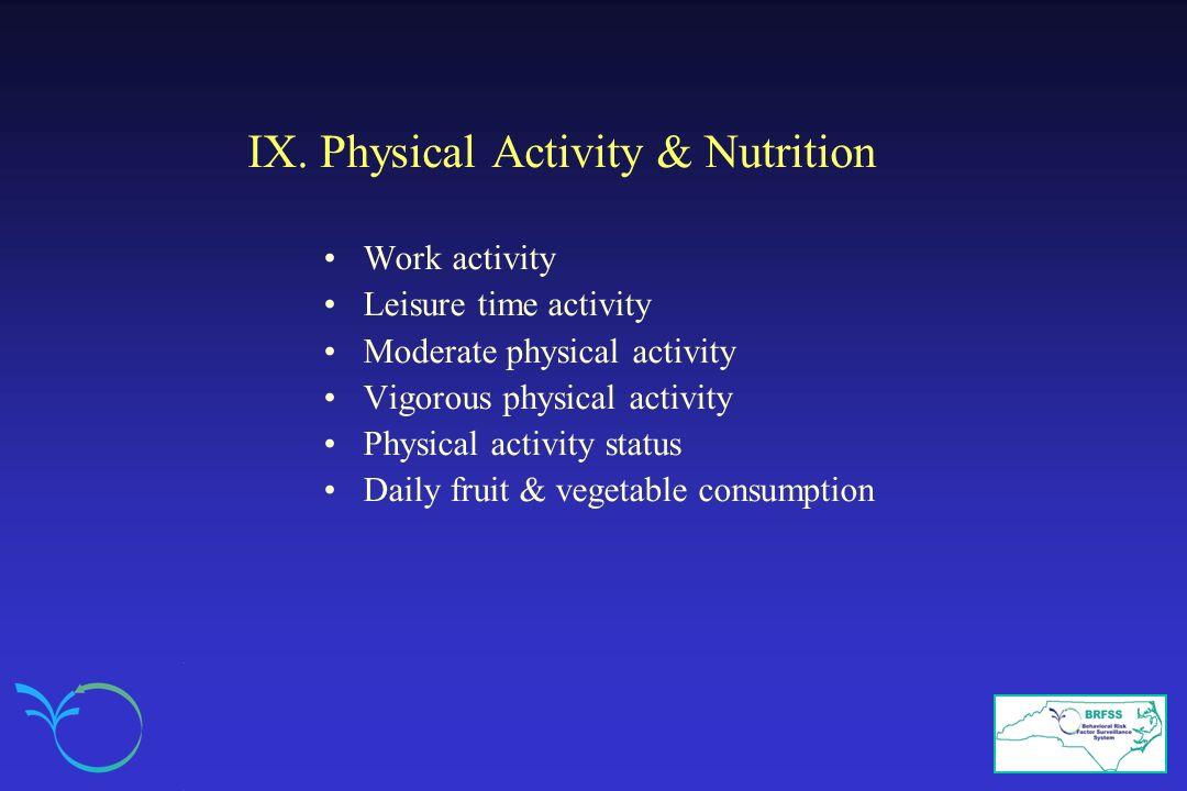 IX. Physical Activity & Nutrition Work activity Leisure time activity Moderate physical activity Vigorous physical activity Physical activity status D